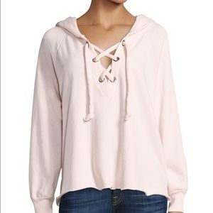 Wildfox Hutton Lace Up Hoodie in Light Pink
